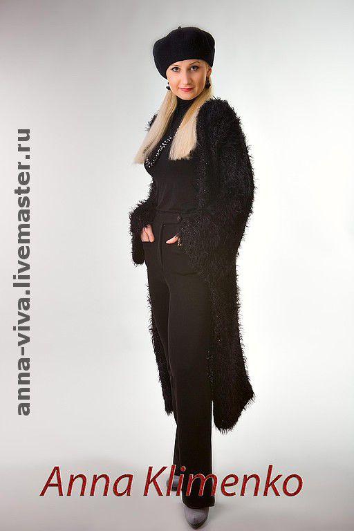 """Верхняя одежда ручной работы. Ярмарка Мастеров - ручная работа. Купить Пальто """"Черная Королева"""". Handmade. Вязанное пальто"""