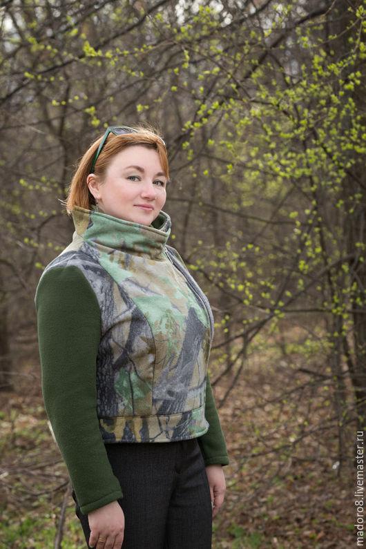Верхняя одежда ручной работы. Ярмарка Мастеров - ручная работа. Купить Зеленая косуха. Handmade. Зеленый, куртка женская, полартек
