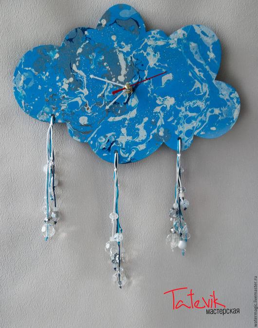 """Часы для дома ручной работы. Ярмарка Мастеров - ручная работа. Купить Часы настенные """"Теплый дождик"""". Handmade. Волшебство"""