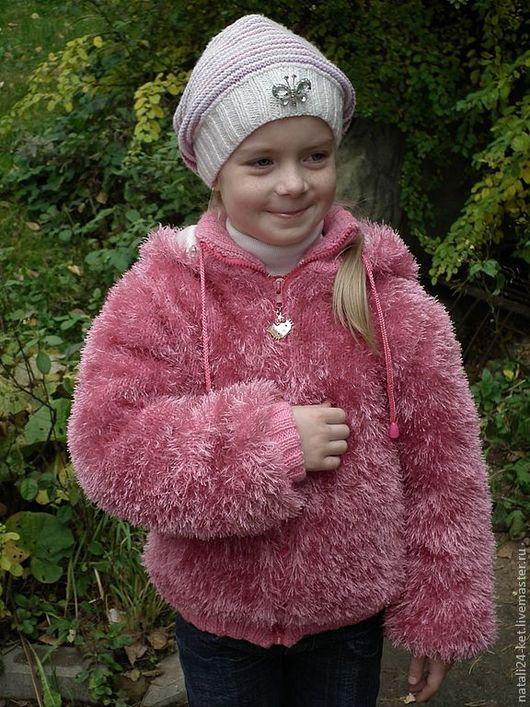 """Одежда для девочек, ручной работы. Ярмарка Мастеров - ручная работа. Купить вязанная куртка""""розовая кошка"""". Handmade. Фуксия, трикотаж, травка"""