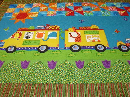 """Пледы и одеяла ручной работы. Ярмарка Мастеров - ручная работа. Купить Детское лоскутное одеяло """"Мы едем, едем,едем...."""". Handmade."""