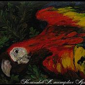 Картины ручной работы. Ярмарка Мастеров - ручная работа Картина Попугай масло 23х16см. Handmade.