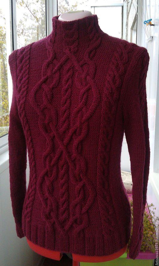 Кофты и свитера ручной работы. Ярмарка Мастеров - ручная работа. Купить Пуловер бордовый. Handmade. Бордовый, пуловер с косами