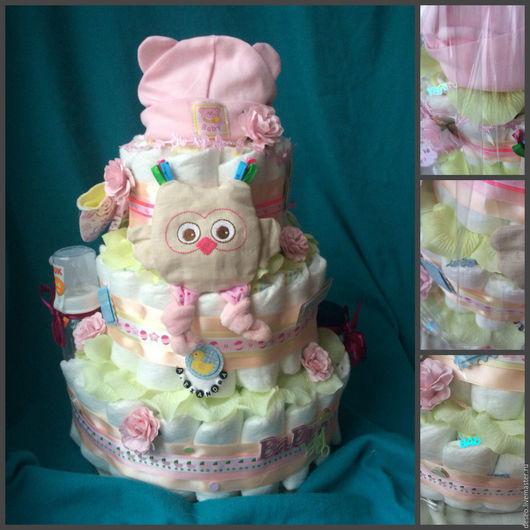 """Подарки для новорожденных, ручной работы. Ярмарка Мастеров - ручная работа. Купить Торт из памперсов """"Совушка"""" именной. Handmade. Комбинированный"""