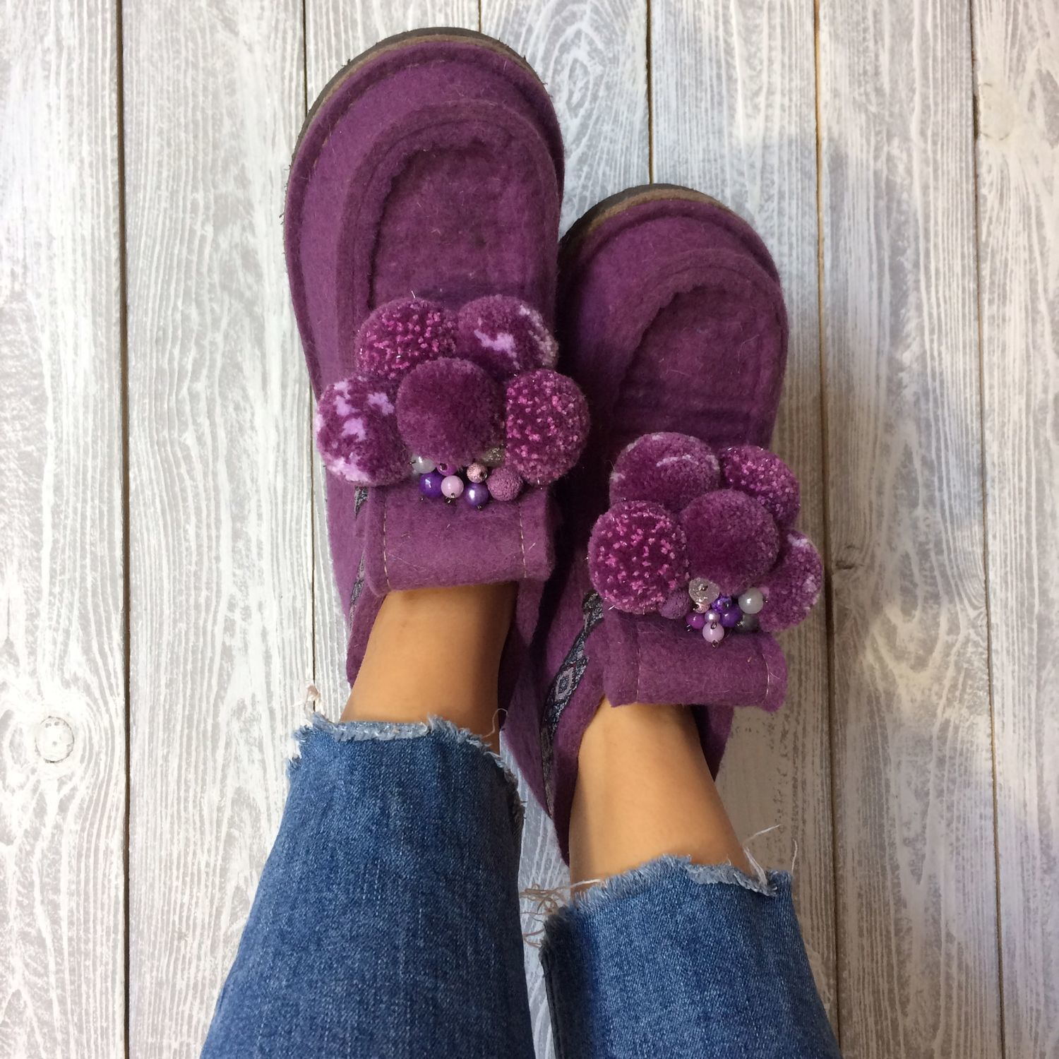 Designer women's boots 'LAVENDER BEAR' on the sole, Felt boots, Moscow,  Фото №1