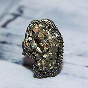 Rings handmade. Livemaster - original item 925 sterling silver ring with untreated pyrite. Handmade.