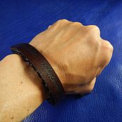 Украшения handmade. Livemaster - original item Braided leather bracelet with engraved Born to be. Handmade.