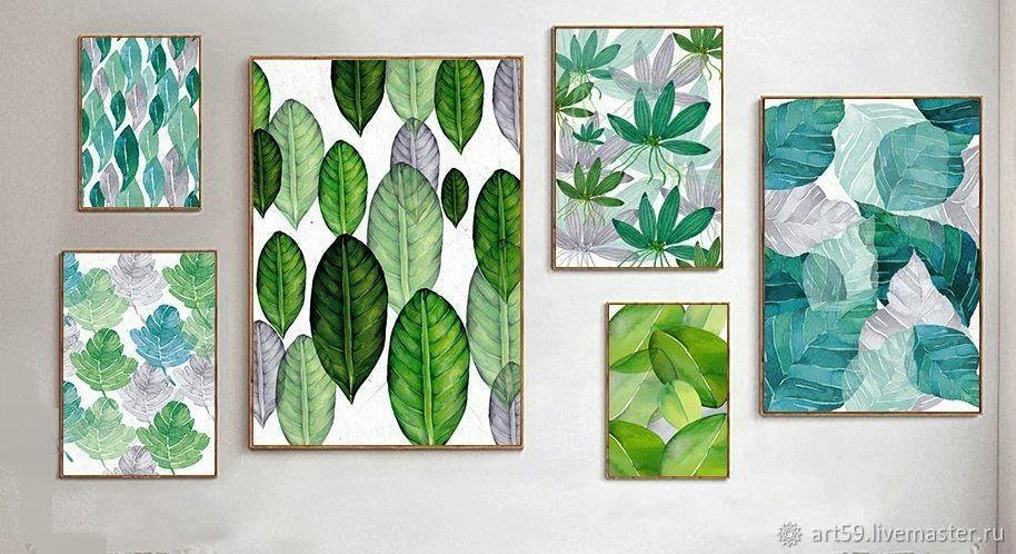 Нежно-зеленый полиптих на 6-ти холстах, Картины, Санкт-Петербург, Фото №1