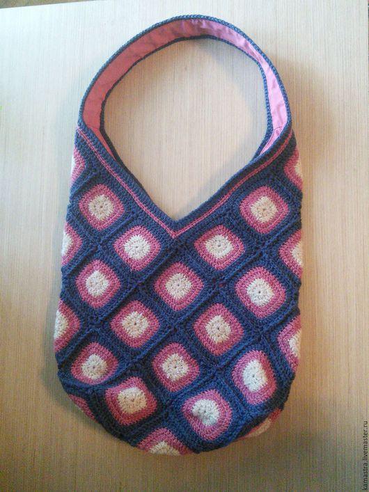Женские сумки ручной работы. Ярмарка Мастеров - ручная работа. Купить Сумка торба, вязаная, крючок, шерсть. Handmade. Розовый