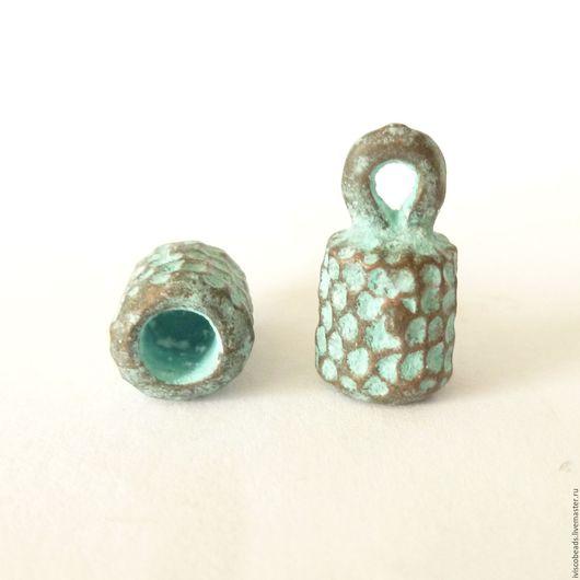 Для украшений ручной работы. Ярмарка Мастеров - ручная работа. Купить Концевики под чеканку 4 мм - патинированная медь. Handmade.