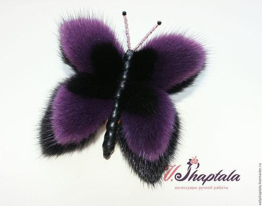 Броши ручной работы. Ярмарка Мастеров - ручная работа. Купить Бабочка черно-фиолетовая. Handmade. Черный, бабочка, брошь из меха