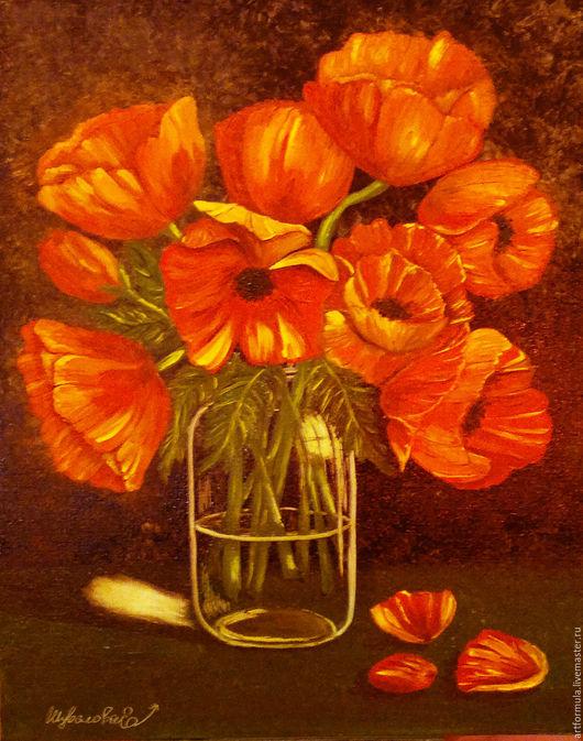 Картины цветов ручной работы. Ярмарка Мастеров - ручная работа. Купить В ожидании лета. Handmade. Ярко-красный
