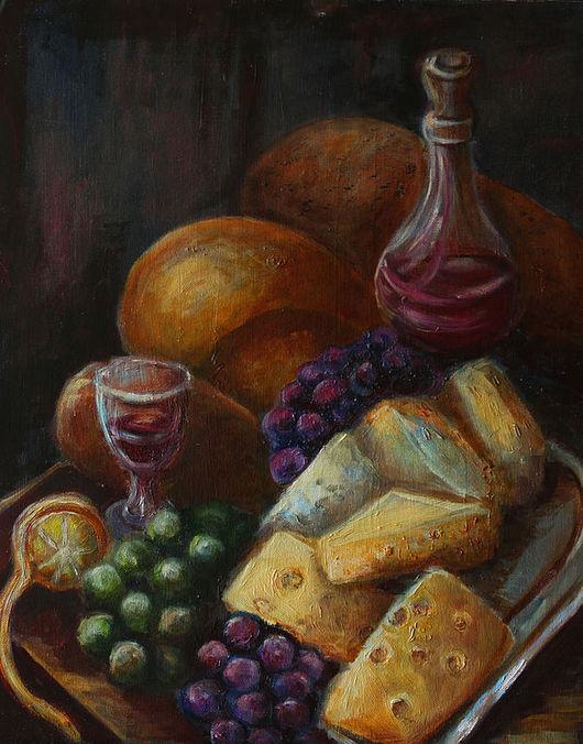 Натюрморт ручной работы. Ярмарка Мастеров - ручная работа. Купить Натюрморт с сыром. Handmade. Натюрморт с фруктами, картина маслом, комбинированный