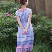 Одежда handmade. Livemaster - original item Linen lavender dress with lace. Handmade.