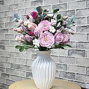 Букет для любимой. Цветы из полимерной глины ручной работы.