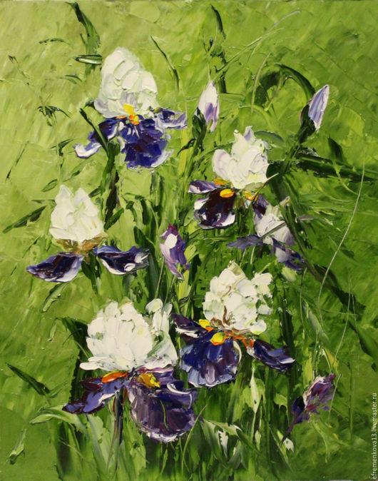 """Картины цветов ручной работы. Ярмарка Мастеров - ручная работа. Купить Картина """"Бело-синие ирисы"""". Handmade. Зеленый"""