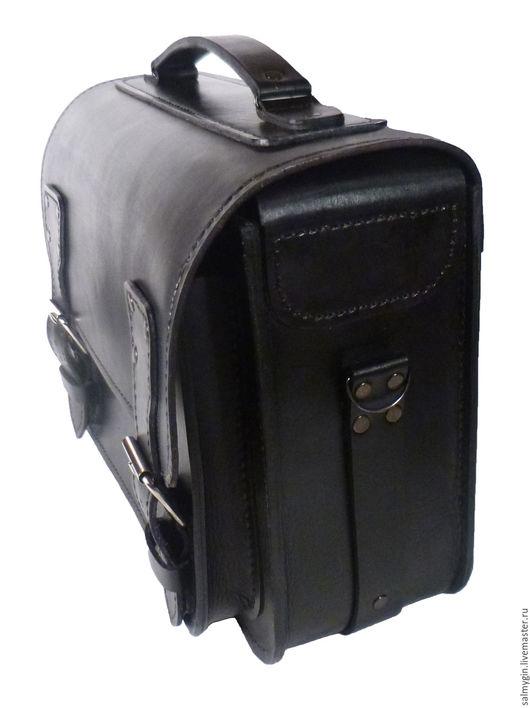 Мужские сумки ручной работы. Ярмарка Мастеров - ручная работа. Купить №1 Мужской портфель широкий. Handmade. Черный