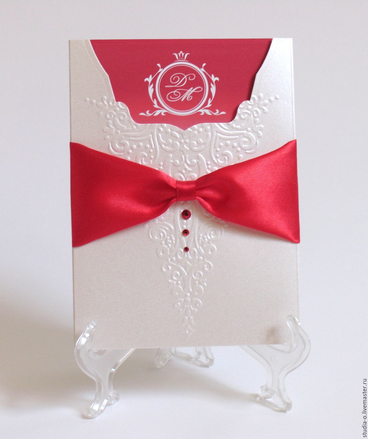 Classic invitations. Red wedding – shop online on Livemaster with ...