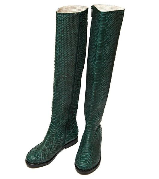 Обувь ручной работы. Ярмарка Мастеров - ручная работа. Купить Сапоги из натуральной кожи питона Зеленые. Handmade. Бежевый, шкурка