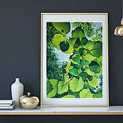 Картины ручной работы. Ярмарка Мастеров - ручная работа Весна, 28 х 38 см (Акварельная картина с зелеными листьями). Handmade.