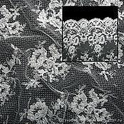 Ткани ручной работы. Ярмарка Мастеров - ручная работа Вышивка на крупной сетке бисер стеклярус белый Италия. Handmade.