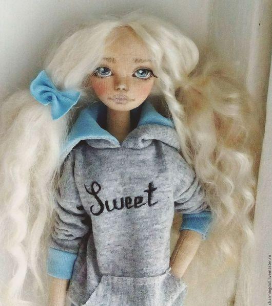 Коллекционные куклы ручной работы. Ярмарка Мастеров - ручная работа. Купить Авторская текстильная кукла. Handmade. Голубой, тильда