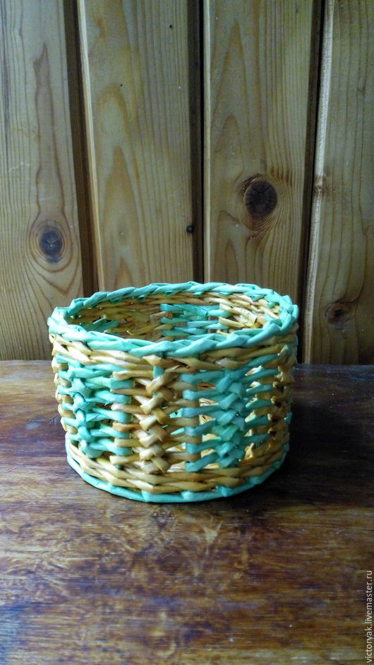 """Корзины, коробы ручной работы. Ярмарка Мастеров - ручная работа. Купить Корзинка """"Позитив"""". Handmade. Желтый, плетение из бумаги"""