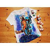 handmade. Livemaster - original item T-shirt with hand-painted Rocket Raccoon/ Guardians of the galaxy. Handmade.