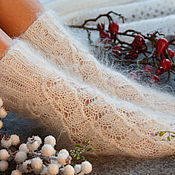 Аксессуары handmade. Livemaster - original item Down socks, knitted white. Handmade.