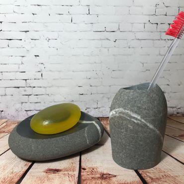 Косметика ручной работы. Ярмарка Мастеров - ручная работа Мыльница и подставка для зубных щеток из камня. Handmade.