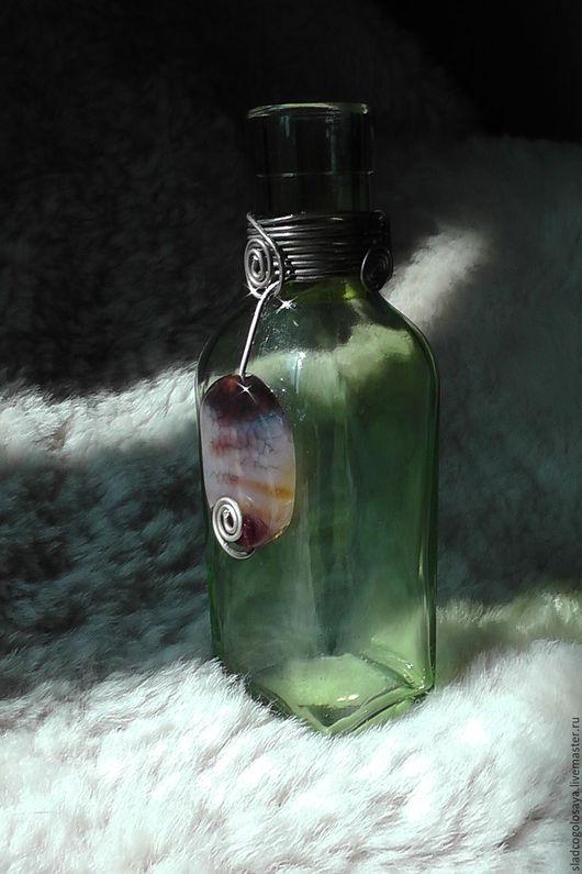 """Подарочное оформление бутылок ручной работы. Ярмарка Мастеров - ручная работа. Купить """"Змей"""", ловец солнца. Агат, мельхиор.. Handmade."""
