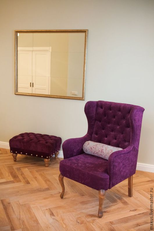 Мебель ручной работы. Ярмарка Мастеров - ручная работа. Купить кресло. Handmade. Тёмно-синий, каретная стяжка