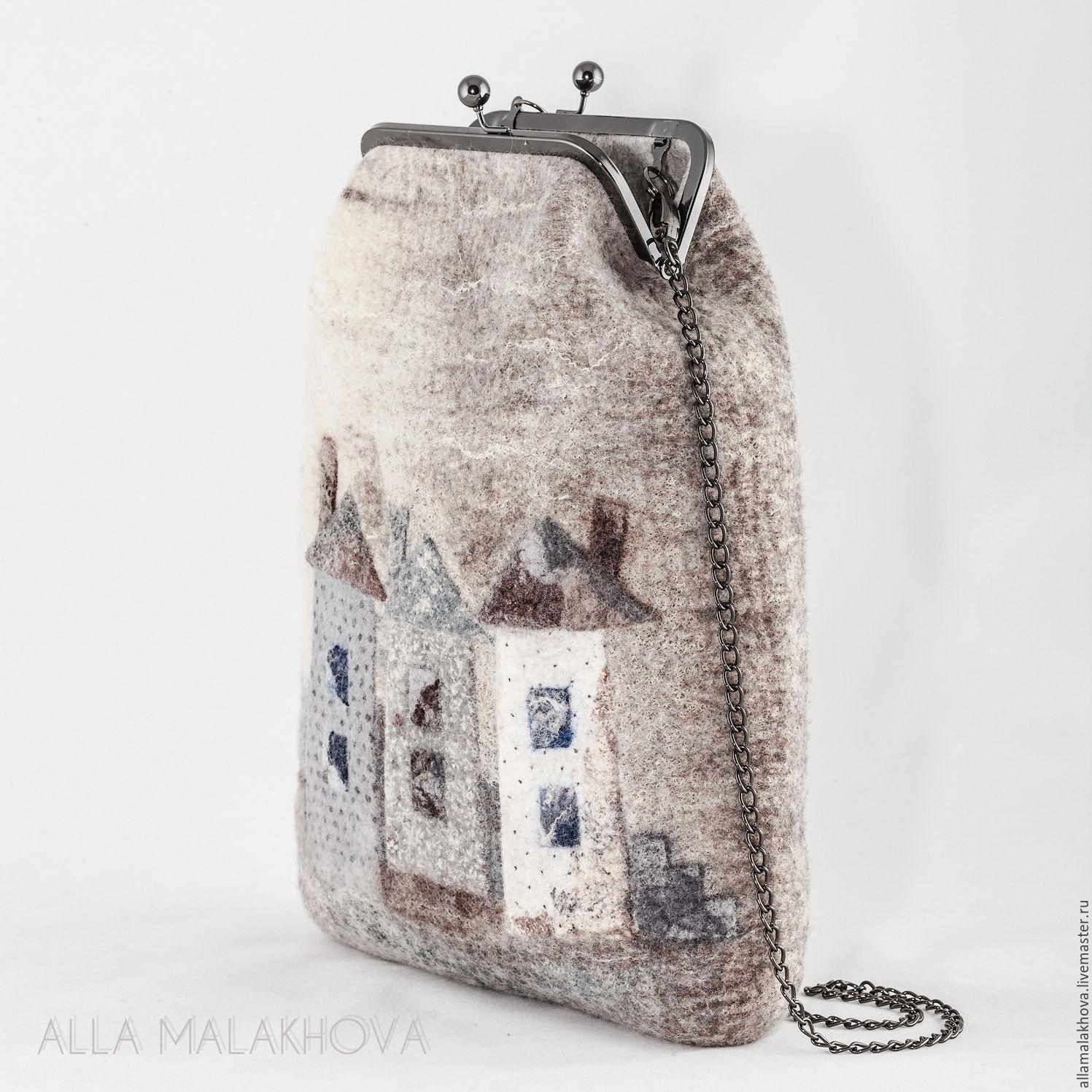Валяная сумка-ридикюль  Мне приснился Город, Классическая сумка, Самара,  Фото №1
