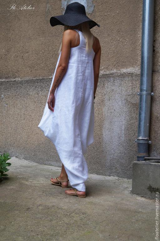 Платья ручной работы. Ярмарка Мастеров - ручная работа. Купить Convertible белый Кафтан/Асимметричная Туника / Белое платье/F1490. Handmade.