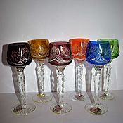 Винтаж handmade. Livemaster - original item Set of wine glasses on a high leg color crystal Joska Bodenmais. Handmade.
