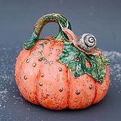 handmade. Livemaster - original item Pumpkin and snail. Porcelain sculpture.. Handmade.