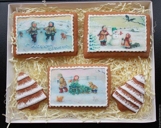 Пряничный новогодний набор. Набор новогодний из пряников: пряник открытка (фотопринт), пряник елка.