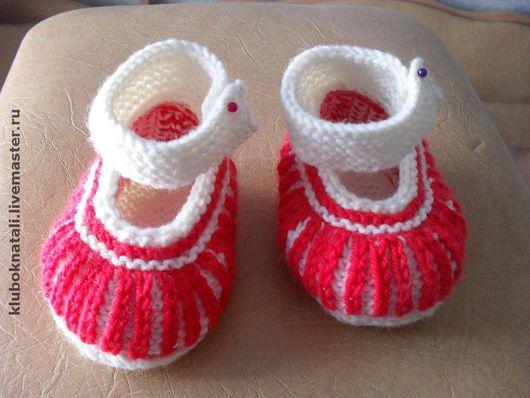 Для новорожденных, ручной работы. Ярмарка Мастеров - ручная работа. Купить Пинетки- туфельки. Handmade. Вязаные пинетки