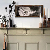 Картины ручной работы. Ярмарка Мастеров - ручная работа Картина Бесшумный полет 50x20 японская живопись суми-э тушь луна сова. Handmade.