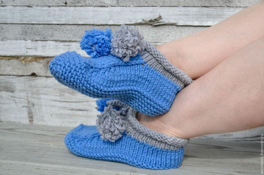 """Обувь ручной работы. Ярмарка Мастеров - ручная работа. Купить Домашние тапочки """"Уют"""". Handmade. Синий, Тапки детские, носки"""