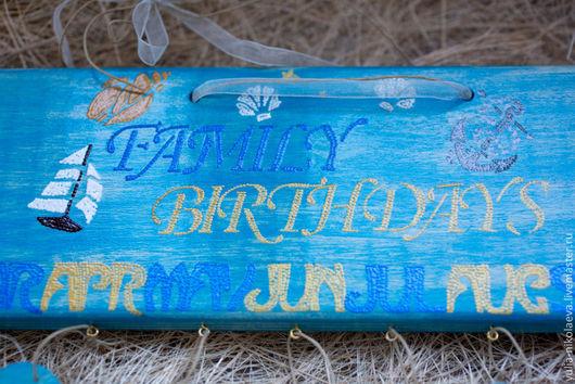 Календари ручной работы. Ярмарка Мастеров - ручная работа. Купить Семейный календарь в морском стиле. Handmade. Морская волна