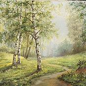 Картины и панно handmade. Livemaster - original item morning in a birch forest. Handmade.