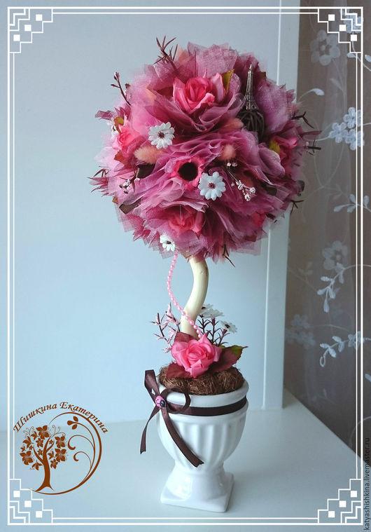 """Топиарии ручной работы. Ярмарка Мастеров - ручная работа. Купить Топиарий """"Парижанка"""" в розово-коричневом цвете. Handmade. Комбинированный, топиарий"""