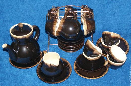 Винтажная посуда. Ярмарка Мастеров - ручная работа. Купить Чайный кофейный набор майолика фаянс зик 62г.. Handmade. Коричневый