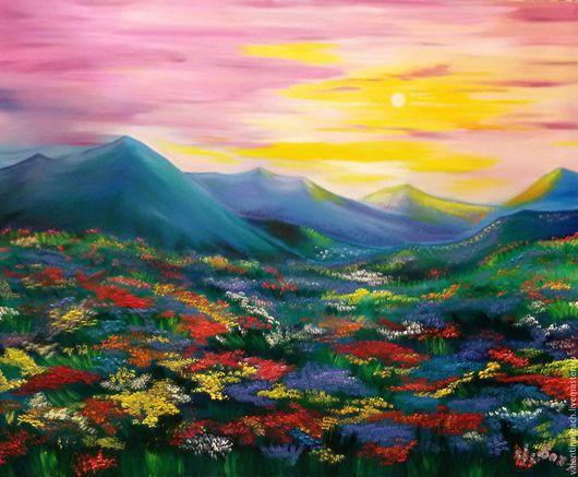 """Пейзаж ручной работы. Ярмарка Мастеров - ручная работа. Купить """"Сказка"""". Handmade. Комбинированный, горы, картина на заказ, масло"""