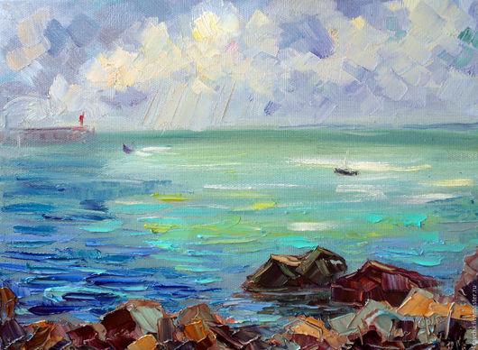 Пейзаж ручной работы. Ярмарка Мастеров - ручная работа. Купить Картина маслом Изменчивая погода моря. Handmade. Море