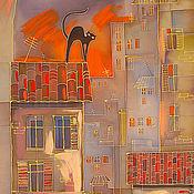 Картины и панно ручной работы. Ярмарка Мастеров - ручная работа Кот на крыше. Handmade.