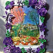 Сувениры и подарки ручной работы. Ярмарка Мастеров - ручная работа Фоторамка женская Фиолет-розы из атласа,бусины сваровски. Handmade.