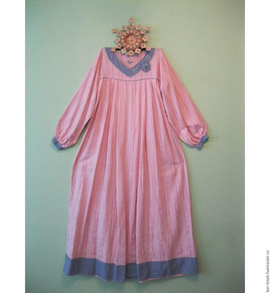 Платья ручной работы. Ярмарка Мастеров - ручная работа. Купить Платье изо льна в пол. Handmade. Кремовый, голубой, платье