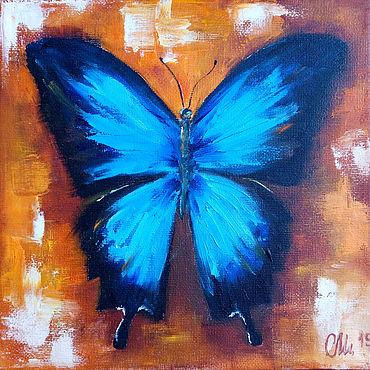 """Картины и панно ручной работы. Ярмарка Мастеров - ручная работа Картина с бабочкой """"Голубая бабочка"""" - картина маслом. Handmade."""